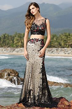 Illusion Sweetheart Neck Two Piece Black Evening Gown Prom Dress (02160400) - USD 209.99