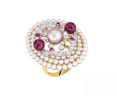 """Chanel """"Byzance"""" ring in pink and white gold, a cultured freshwater pearl, 2 faceted rubellites totalling carats, 4 pear-cut sapphires totalling carats, 80 akoya pearls and 31 brilliant cut diamonds totalling carats Pearl Love, Fancy Schmancy, Chanel Jewelry, Pink Ring, Ancient Jewelry, High Jewelry, Cultured Pearls, Pink Sapphire, Diamond Cuts"""