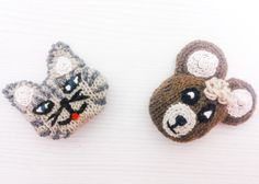 Brooches Gaetano the cat and the bear Orazio handmade by Theart2