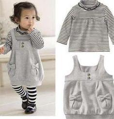 Baby meisje pak/gestreepte shirt + jarretelle rok/2013 nieuwe aankomen