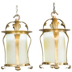 Pair of Arts Crafts brass and vaseline glass hanging lanterns In the manner of W. Antique Lanterns, Vaseline Glass, Cool Lamps, Art Nouveau Jewelry, Hanging Lanterns, Antique Lighting, Contemporary Lamps, Lampshades, Candle Sconces