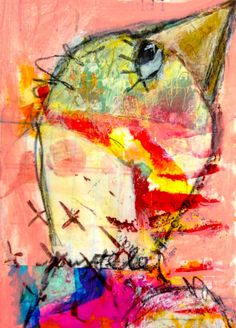 Original mixed media Skinny Painting get set by mystelepaint, $30.00