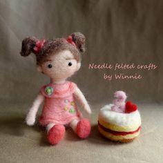 Needle felted doll Custom Order Birthday girl by FunFeltByWinnie, $68.00