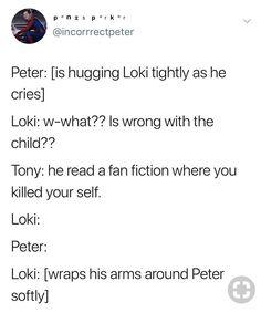 These soft headcanons of Loki and Peter are 👍👍👍 Funny Marvel Memes, Dc Memes, Avengers Memes, Marvel Jokes, Marvel Dc Comics, Marvel Avengers, Marvel Universe, Nananana Batman, Disney Marvel