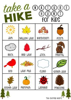 """""""Take a Hike"""" Nature Hunt (Free Printable Take a hike, nature hunt for kids from The Chirping Moms. Get outside and explore! Outside Activities, Nature Activities, Outdoor Activities For Kids, Autumn Activities, Summer Activities, Toddler Activities, Preschool Ideas, Nature Scavenger Hunts, Scavenger Hunt For Kids"""