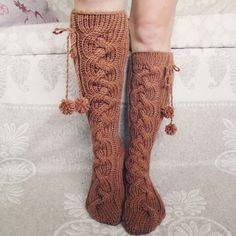Knit socks Handmade Knee high Socks  Wool socks by mymomsshop1