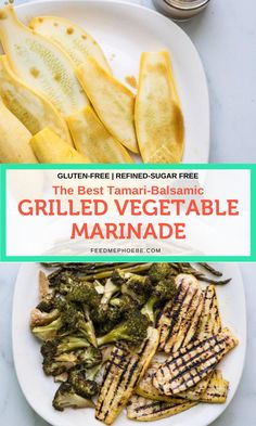 This grilled vegetable marinade gives the same smoky, umami flavor to veggies as it does steak. It's gluten-free, low FODMAP, vegan, easy and perfect with kabobs or slabs of zucchini, squash and eggplant. You can use it on roasted vegetables too! | www.feedmephoebe.com