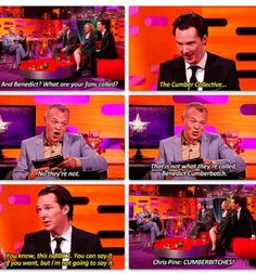 """""""I like """"The Cumber Collective"""" much better, especially since it's what Ben wants :3"""" <--------- previous pinner you are I love this name and its perfect especially the fact that Chris Pine says it!!!"""