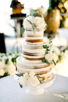 From fresh flower embellishments to metallic details, these decorative three-tier wedding cakes are showing us how it's done. Big Wedding Cakes, Wedding Cakes With Flowers, Beautiful Wedding Cakes, Wedding Cake Designs, Flower Cakes, Custom Cake Toppers, Wedding Cake Toppers, White Fondant Cake, Three Tier Cake