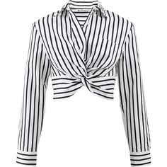 T By Alexander Wang Striped Twist Front Crop Shirt ($295) ❤ liked on Polyvore featuring tops, collared shirt, collared crop top, striped top, long shirt and striped shirt