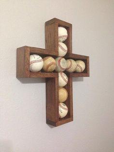 Wood Baseball Cross Wallart