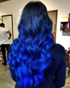 Amazing shades of blue hair color Pretty Hair Color, Beautiful Hair Color, Hair Color Blue, Blue Green Hair, Pink Yellow, Black Hair, Color Black, Balayage Hair Blonde, Ombre Hair