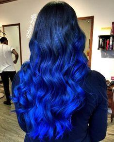 Isabella Carolina  HairArtist on Instagram: Midnight Sky  Blue Hair Vivid Hair Color, Pretty Hair Color, Beautiful Hair Color, Hair Dye Colors, Brown Hair Mermaid, Rich Brown Hair, Blue Ombre Hair, Bright Blue Hair, Red Hair