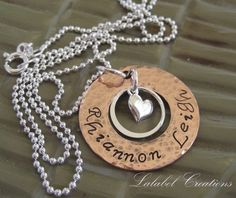 Mommy Necklace  Hand Stamped Personalized by LalabelCreations,