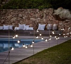 Pool Dekor Lichterketten 32 New Ideas Backyard Wedding Pool Dreams Garden Path Lighting, Fence Lighting, Backyard Lighting, Landscape Lighting, Outdoor Lighting, Outdoor Decor, Party Outdoor, Outdoor Fairy Lights, Accent Lighting