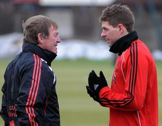 Kenny Dalglish having a chat with his skipper at Melwood