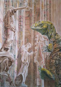 Artak Mikaelian - Drago di Duomo di Milano / Dragón de Duomo de Milán / Dragon from Milan's Duom / Дракон Миланского Кафедрального Собора Дуомо tinta / ink / тушь papel / paper / бумага - 70×50cm, 2016թ.  #milan #dragon #duomo #art #арт #arte #arts #painting #pintura  #искусство #картина #картины #ink #inked #tinta #architecture #arquitetura  #draw #drawing #picture #paint #dibujo #dibujos #worldofartists #artoftheday #masterpiece #dailyart #творчество #рисунок #художник