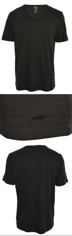 Calvin Klein Mens V-Neck Short Sleeve T-Shirt (Pitch Black, Large) V-Neck. Short Sleeves. Signature Metal Logo Plate. Soft & Stretchy. Machine Wash.  #Calvin_Klein #Apparel