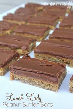 Lunch Lady Peanut Butter Bars - Chocolate and peanut butter make these irresistible! Lunch Lady Peanut Butter Bars - Chocolate and peanut butter make these irresistible! Peanut Butter Bars, Peanut Butter Recipes, Peanut Butter Fingers, Peanut Butter Squares, Chocolate Peanut Butter, White Chocolate, Baking Recipes, Cookie Recipes, Dessert Recipes