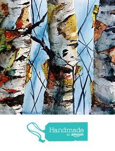 original colorful print BIRCH TREES landscape original watercolor original painting modern wall painting print birch trees from Maine ARTist https://www.amazon.com/dp/B01HC7EKEK/ref=hnd_sw_r_pi_dp_rX-1zb3WT6SJG #handmadeatamazon