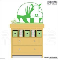 Wall decals GEOMETRIC HIPPO Vinyl surface graphics by decalsmurals, $27.99
