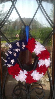 July 4th wreath. I made via Pintrest.