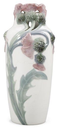 ** Mela Anderberg (Swedish 1865-1927), Rörstrand Porslinsfabrik, Vase, Glaze Decorated Porcelain.