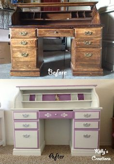Purple and white rolltop desk before and after pictures. Refinished by Kelly's Creations. https://www.facebook.com/pages/Kellys-Creations-Refinished-Furniture/524028237619793