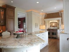 Awesome Backsplash Behind Stove And Sectional Kitchen Island With Corner  Sink Plus Gorgeous White Granite Countertop