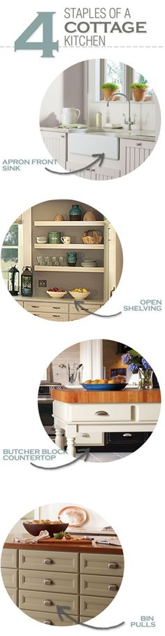 A cottage kitchen staple: apron front sink.
