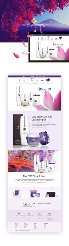 Tatcha website redesign on Behance. web design. beautiful. purple. pink. blue. gorgeous. user freindly. web designer. inspiration. hero image. picture. nature.