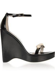 Jason Wu | Embellished wedge sandals | NET-A-PORTER.COM