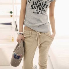 New Fashion Women's Pure Color Pants Long Loose Small Leg Opening Trouser