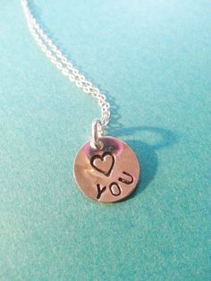 """1/2"""" sterling silver hand stamped """"<3 YOU"""" pendant and 18"""" chain and findings. #jewelry #goldfilled #gold #sterlingsilver #wedding #bridal #bridesmaids #gift #love #heart #happy #necklace #handmade #handstamped #hand #stamped #custom #initial #initialnecklace"""