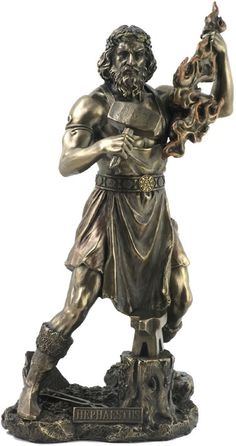 Greek God Hephaestus with Blacksmith Hammer and Flame Statue Sculpture Greek Gods And Goddesses, Greek And Roman Mythology, Athena Statue, Sculpture Art, Sculptures, Modern Sculpture, Symbole Viking, Greek Mythology Tattoos, Pagan Gods