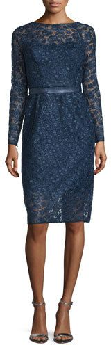 ML Monique Lhuillier Long-Sleeve Lace Cocktail Dress, Navy