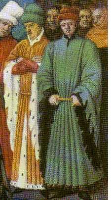 Men wearing houppelandes, showing off the dagged sleeves and organ pipe pleating. Both also wear sugar loaf hats.