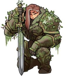 """""""Another D&D character, some kinda overgrown nature Paladin """" Fantasy Character Design, Character Creation, Character Design Inspiration, Character Concept, Character Art, Fantasy Warrior, Fantasy Rpg, D D Characters, Fantasy Characters"""