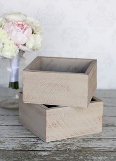 Barn Wood Planter Box Wedding Centerpiece Rustic Shabby Chic Decor SET of 2 WS5000