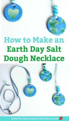 Make, bake and paint a planet earth necklace to celebrate Earth Day. A simple salt dough recipe and step-by-step tutorial for making the necklace. #earthday #earthdaycraft #saltdoughrecipe #saltdoughnecklace #enviromentalscience #kidcrafts #earthcrafts #necklacecraft #craftsforkids
