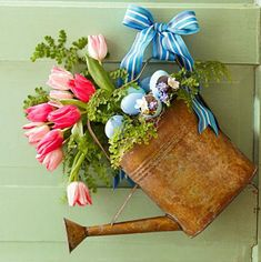 hanging watering can vase
