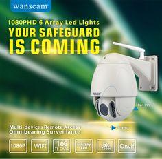 161.41$  Buy here - http://alinuq.worldwells.pw/go.php?t=32781113884 - Wanscam PTZ 5x Zoom Onvif  Waterproof IP66 1080P IP Camera 12 Languages Wireless Wifi P2P PNP Security Surveillance Camera