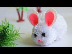 DIY Pom pom chicken / Pom pom Chick / Yarn Chicken /How to make Pom pom Chicken Easy Easter Crafts, Bunny Crafts, Paper Crafts For Kids, Easy Crafts For Kids, Diy Crafts, Paper Bunny, Cute Easter Bunny, Diy Ostern, Craft Party