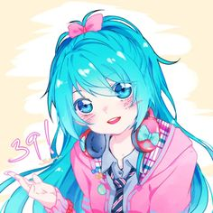 Publish your kawaii Vocaloid pics, and invite your friends! Hatsune Miku, Anime Pro, Asuna, Kawaii Cute, Kawaii Anime, Anime Blue Hair, Desu Desu, Vocaloid Characters, Miku Chan