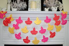 Diya Diwali garland, Diwali garland banner, Diwali decorations, Happy Diwali decor, Diwal banner, red pink gold diyas