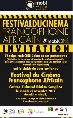 Newsletter pour le festival du cinéma francophone à Dakar organisé par Mobi Ciné pendant le Sommet de la Francophonie (novembre 2014)