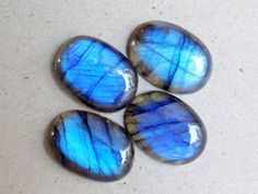 4 Blue Fire Flashy Spectrolite Lot, Good AAA Quality Labradorite Cabochon, Ring Pendant Bracelet Jewelry Making Cabachon Labra Wholesale Lot
