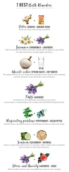 Secret Health Remedies holistic health remedies 7 Best Bath Remedies For Everyday Ailments - A long soak in the tub with one of these natural bath remedies is all you need to alleviate so many common ailments, from PMS to muscle aches. Natural Home Remedies, Natural Healing, Holistic Healing, Holistic Medicine, Holistic Wellness, Healing Herbs, Medicinal Herbs, Wellness Tips, Beauty Hacks For Teens