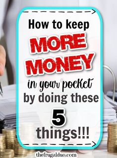 Are you looking for easy ways to keep MORE MONEY in your pocket? Here are 5 things that you can do NOW to start saving money TODAY! Money Now, Money Today, Earn Money, Best Money Saving Tips, Ways To Save Money, Saving Money, Budgeting Money, Frugal Tips, Debt Free