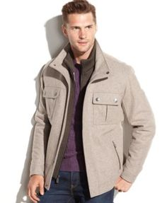 Michael Michael Kors Alhambra Knit-Bib Wool-Blend Coat - Coats & Jackets - Men - Macy's